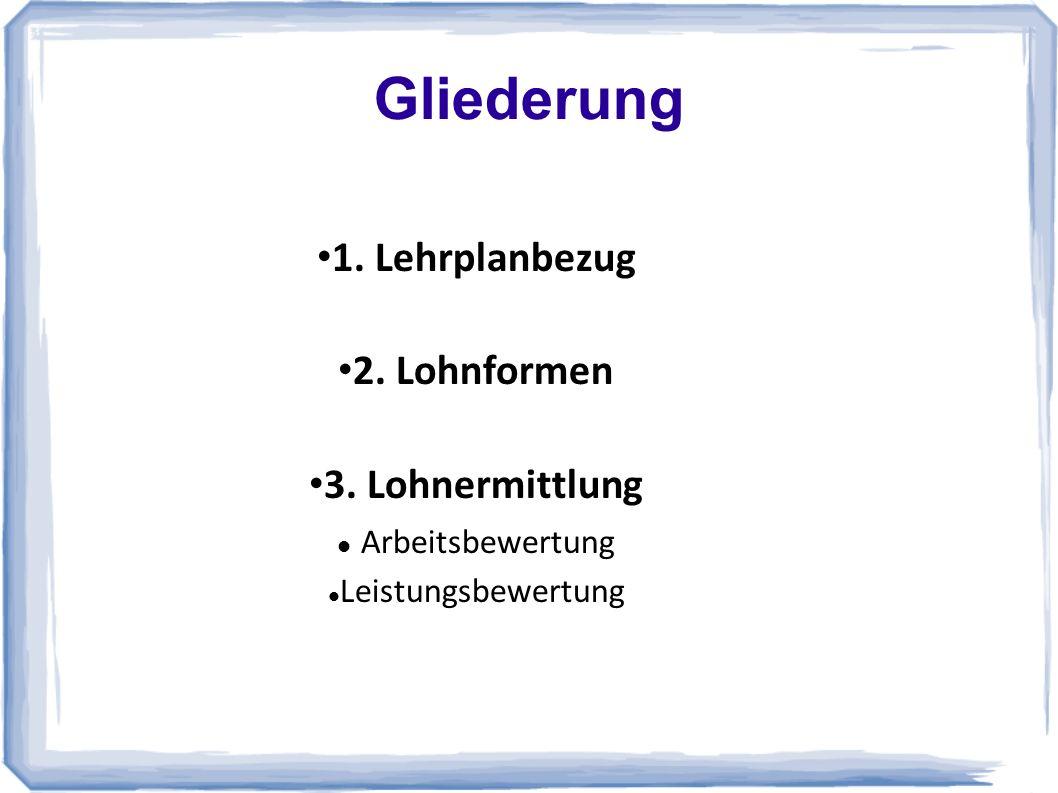 Gliederung 1. Lehrplanbezug 2. Lohnformen 3. Lohnermittlung