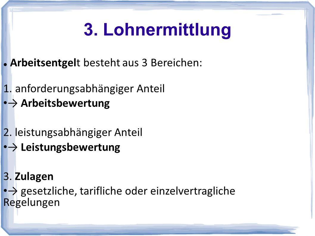 3. Lohnermittlung Arbeitsentgelt besteht aus 3 Bereichen: