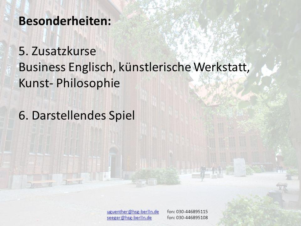 Business Englisch, künstlerische Werkstatt, Kunst- Philosophie