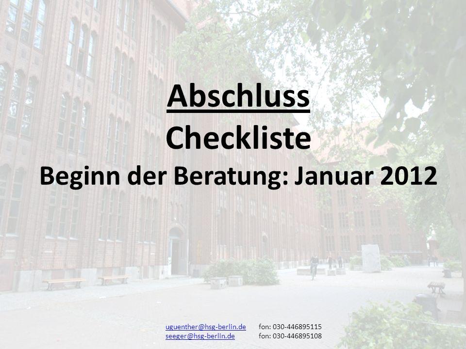 Beginn der Beratung: Januar 2012