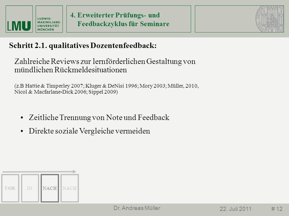 4. Erweiterter Prüfungs- und Feedbackzyklus für Seminare