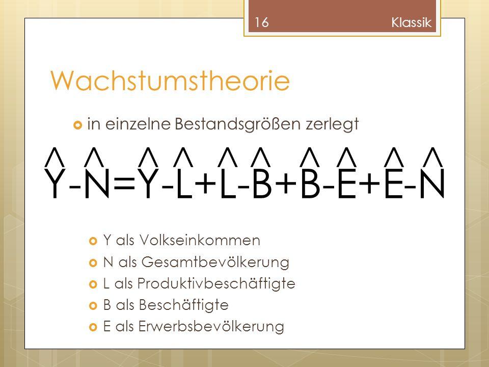 Y-N=Y-L+L-B+B-E+E-N ^ ^ ^ ^ ^ ^ ^ ^ ^ ^ Wachstumstheorie