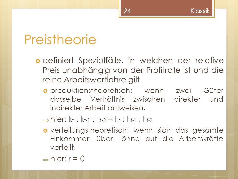 Klassik Preistheorie. definiert Spezialfälle, in welchen der relative Preis unabhängig von der Profitrate ist und die reine Arbeitswertlehre gilt.