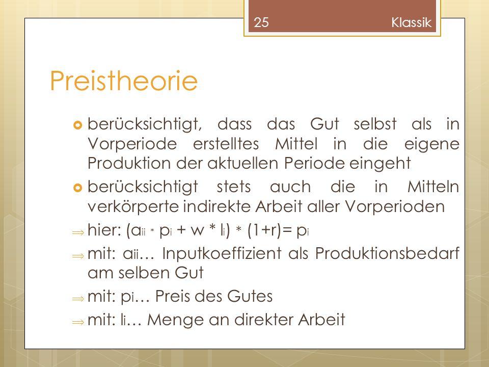 Klassik Preistheorie. berücksichtigt, dass das Gut selbst als in Vorperiode erstelltes Mittel in die eigene Produktion der aktuellen Periode eingeht.
