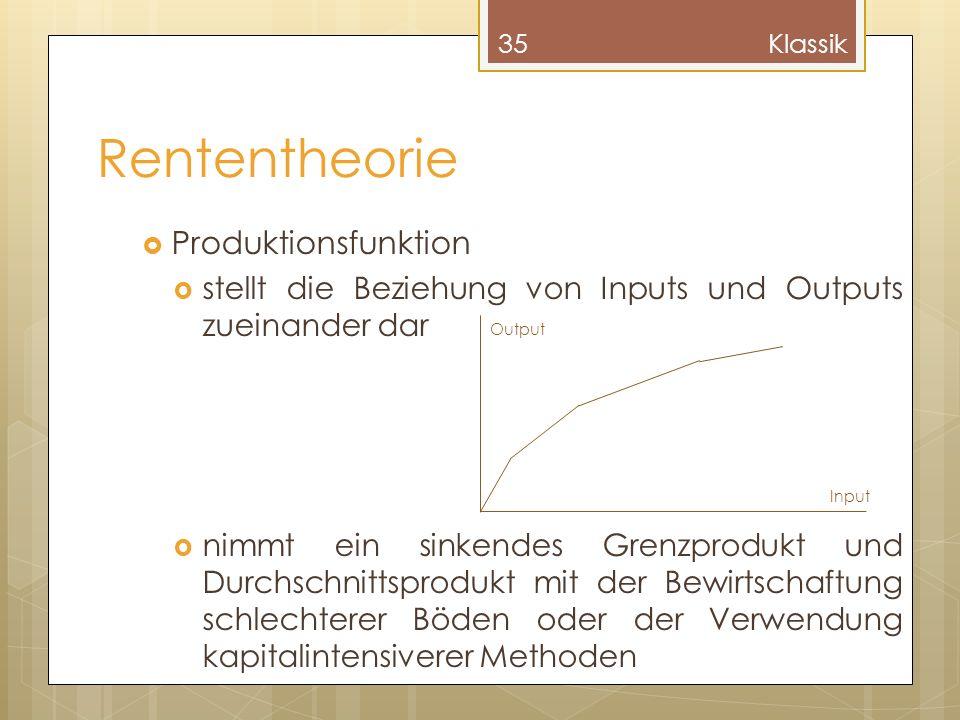 Rententheorie Produktionsfunktion