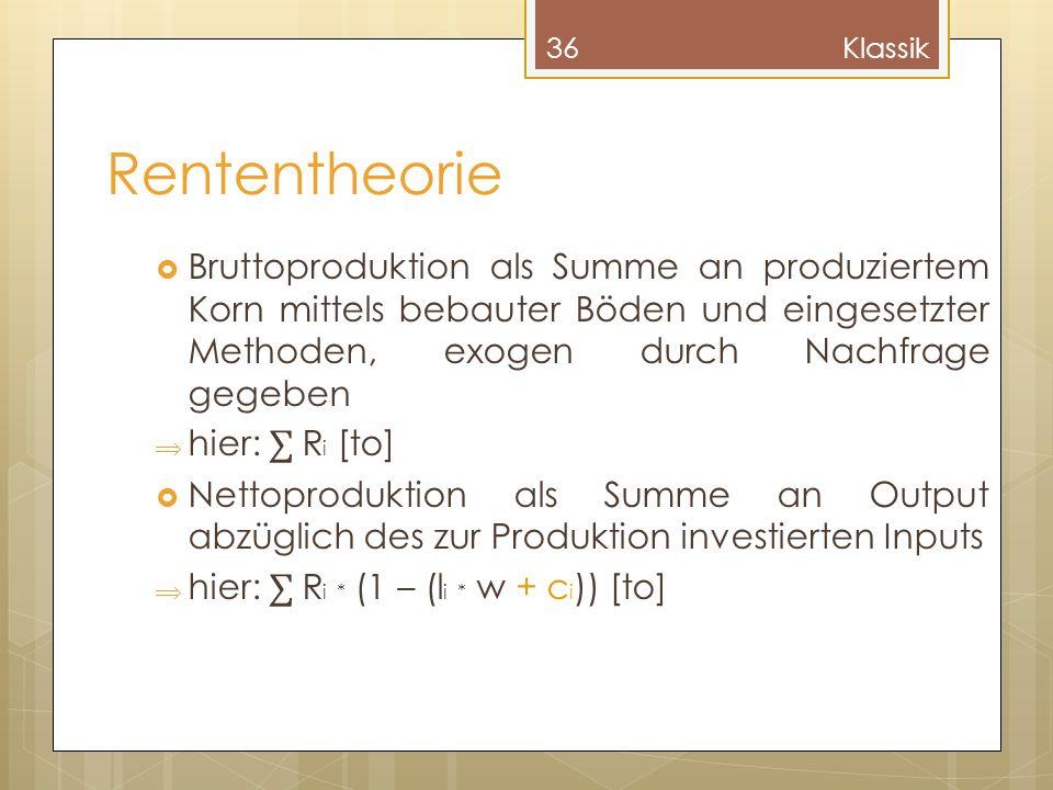 Klassik Rententheorie.