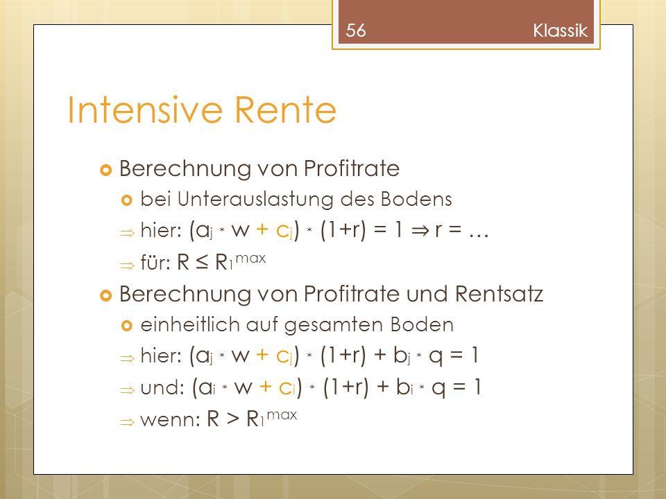 Intensive Rente Berechnung von Profitrate