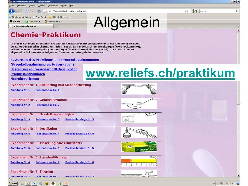 Allgemein www.reliefs.ch/praktikum