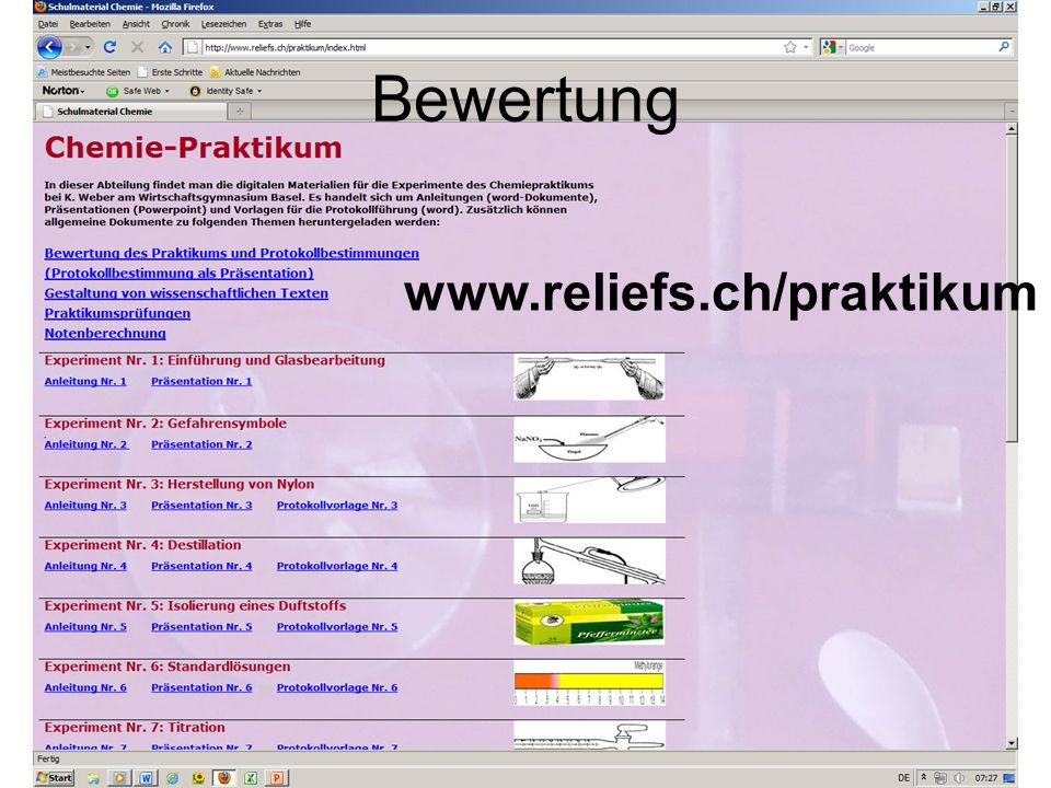 Bewertung www.reliefs.ch/praktikum