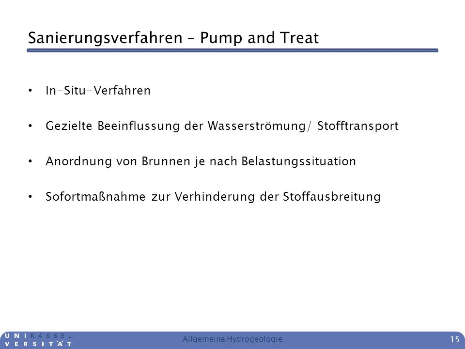 Sanierungsverfahren – Pump and Treat
