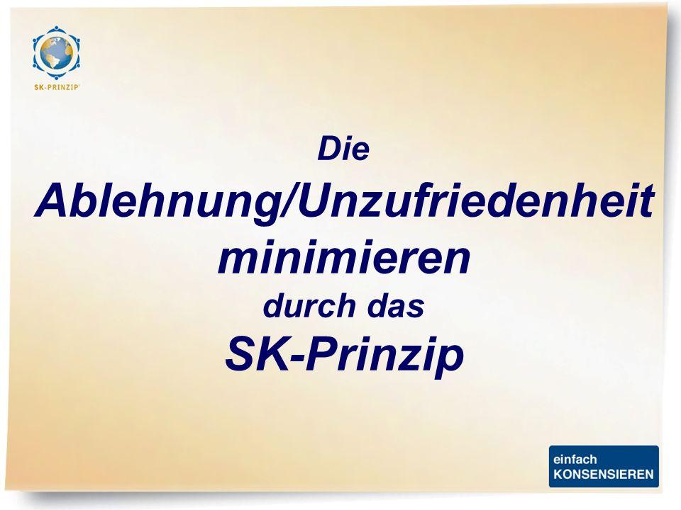 Die Ablehnung/Unzufriedenheit minimieren durch das SK-Prinzip