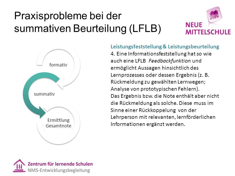 Praxisprobleme bei der summativen Beurteilung (LFLB)