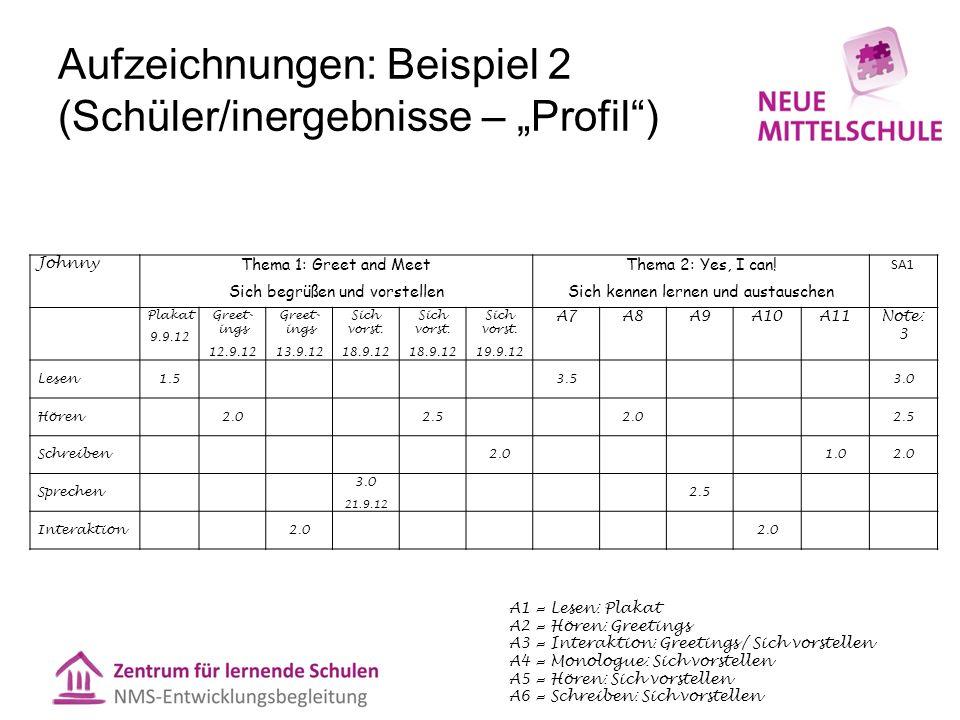 """Aufzeichnungen: Beispiel 2 (Schüler/inergebnisse – """"Profil )"""