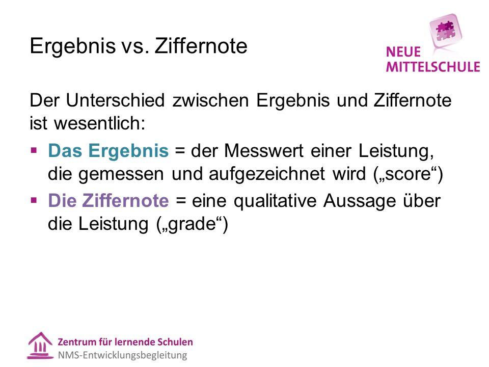Ergebnis vs. Ziffernote