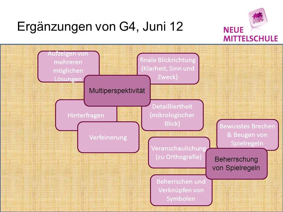 Ergänzungen von G4, Juni 12 Aufzeigen von mehreren möglichen Lösungen