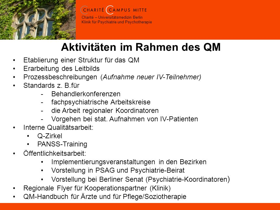 Aktivitäten im Rahmen des QM