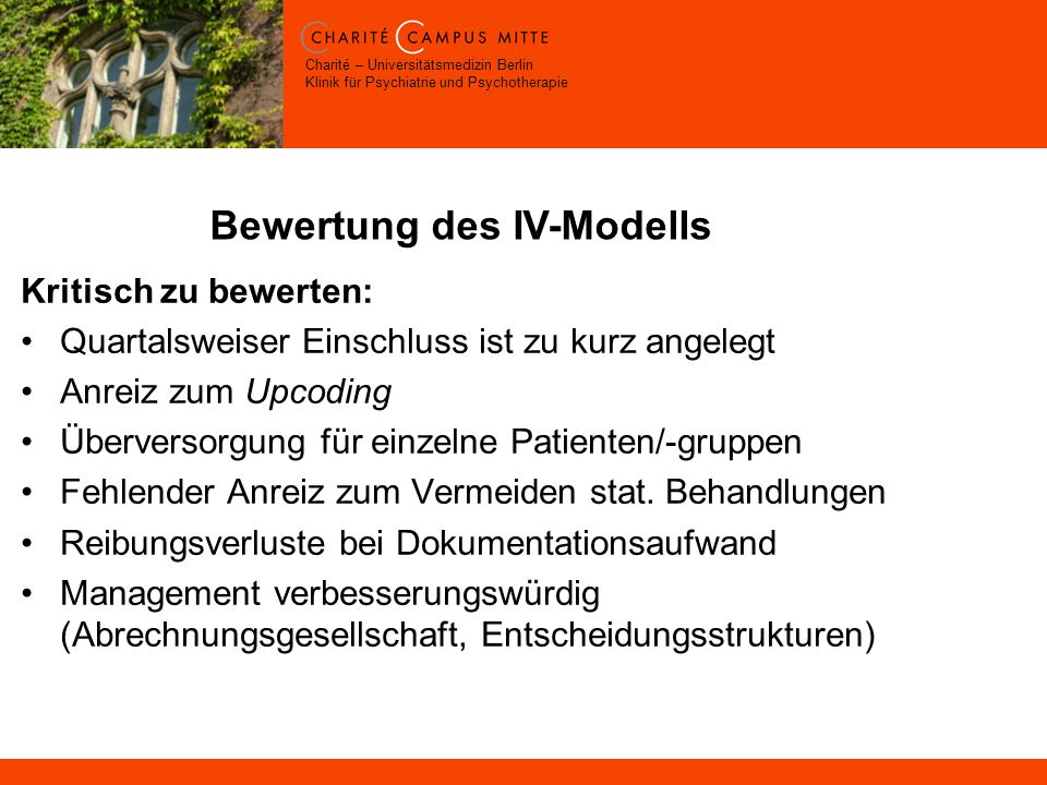 Bewertung des IV-Modells