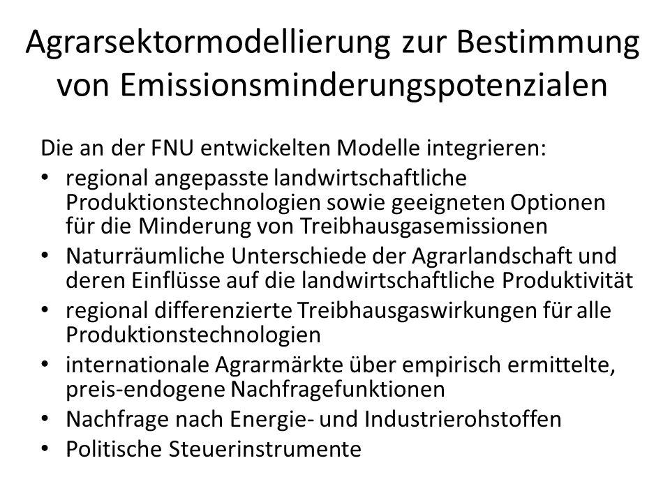 Agrarsektormodellierung zur Bestimmung von Emissionsminderungspotenzialen