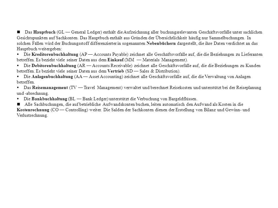 n Das Hauptbuch (GL — General Ledger) enthält die Aufzeichnung aller buchungsrelevanten Geschäftsvorfälle unter sachlichen Gesichtspunkten auf Sachkonten. Das Hauptbuch enthält aus Gründen der Übersichtlichkeit häufig nur Sammelbuchungen. In solchen Fällen wird der Buchungsstoff differenzierter in sogenannten Nebenbüchern dargestellt, die ihre Daten verdichtet an das Hauptbuch weitergeben: