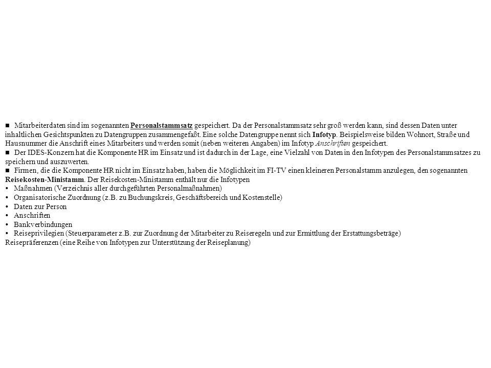 Ÿ Maßnahmen (Verzeichnis aller durchgeführten Personalmaßnahmen)