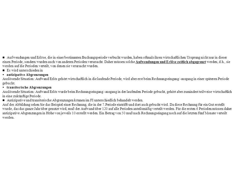 n Aufwendungen und Erlöse, die in einer bestimmten Buchungsperiode verbucht wurden, haben oftmals ihren wirtschaftlichen Ursprung nicht nur in dieser einen Periode, sondern wurden auch von anderen Perioden verursacht. Daher müssen solche Aufwendungen und Erlöse zeitlich abgegrenzt werden, d.h., sie werden auf die Perioden verteilt, von denen sie verursacht wurden.