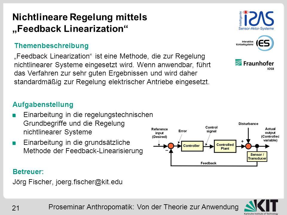 """Nichtlineare Regelung mittels """"Feedback Linearization"""