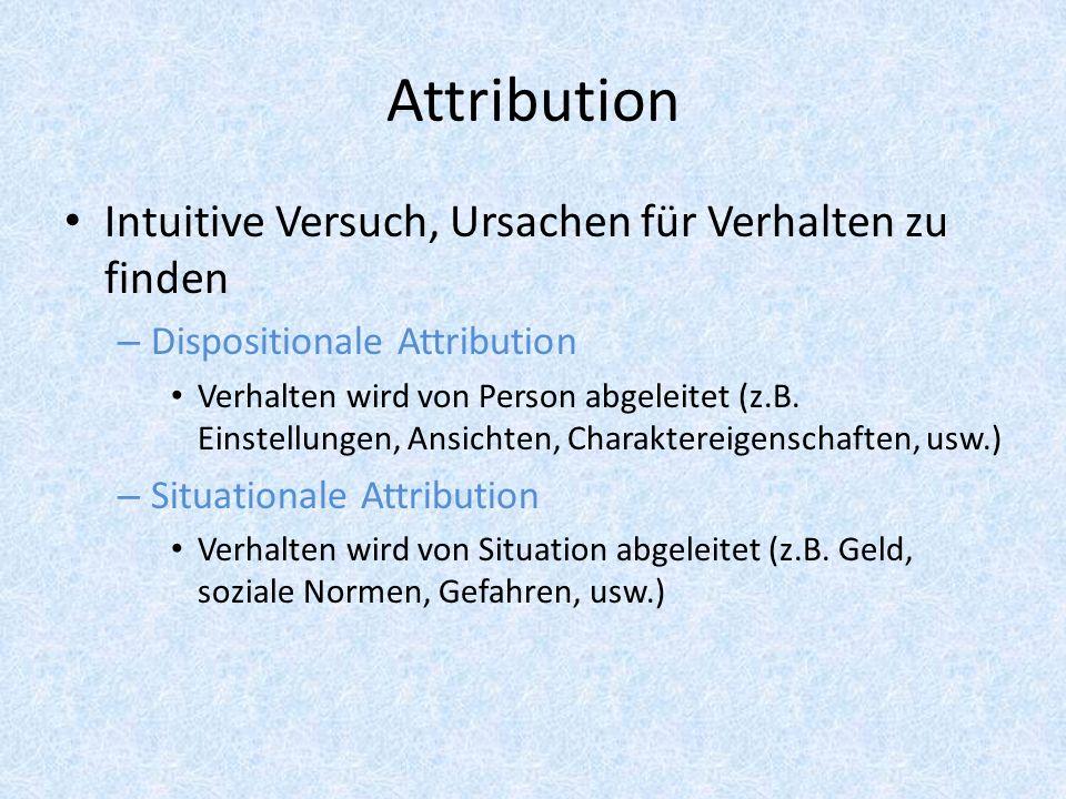 Attribution Intuitive Versuch, Ursachen für Verhalten zu finden