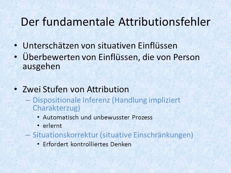 Der fundamentale Attributionsfehler