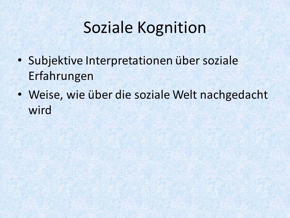 Soziale Kognition Subjektive Interpretationen über soziale Erfahrungen