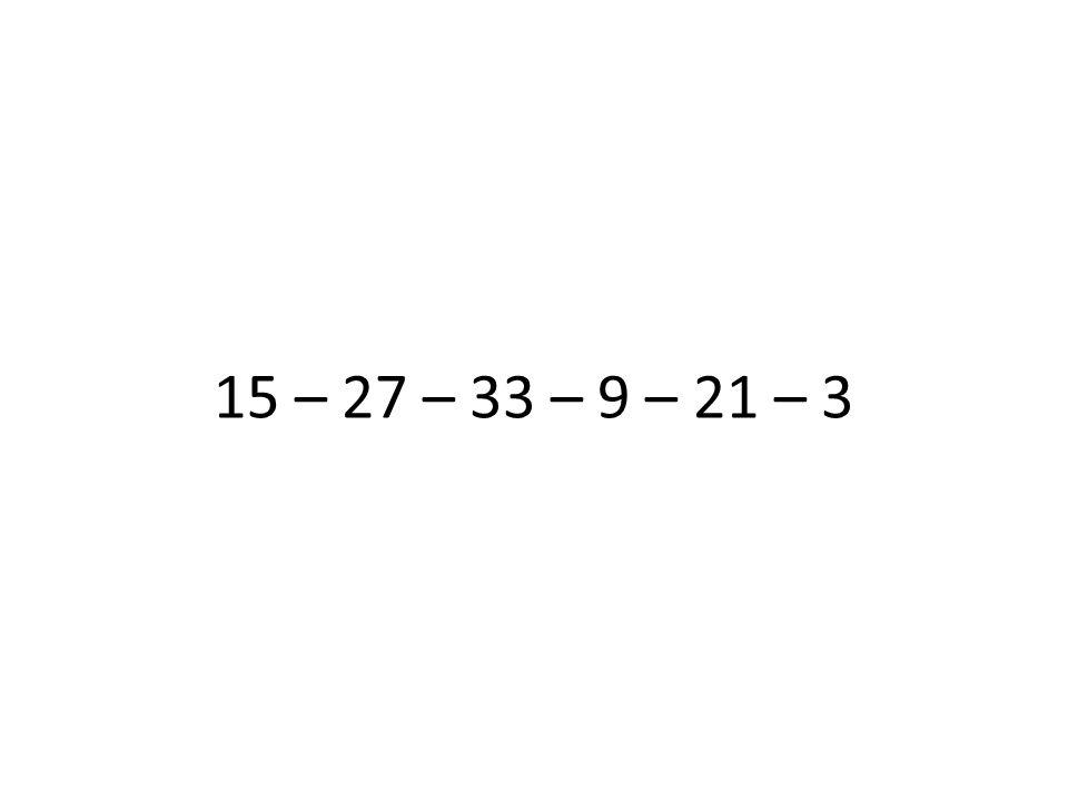 15 – 27 – 33 – 9 – 21 – 3 Danach ablenken