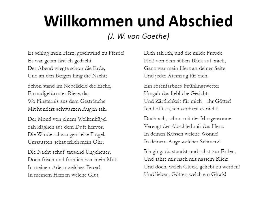 Willkommen und Abschied (J. W. von Goethe)