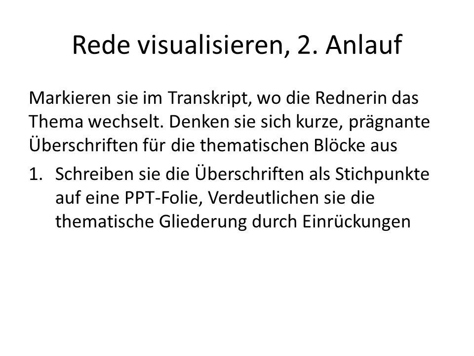 Rede visualisieren, 2. Anlauf