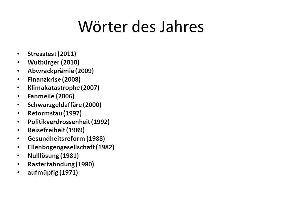 Wörter des Jahres Stresstest (2011) Wutbürger (2010)