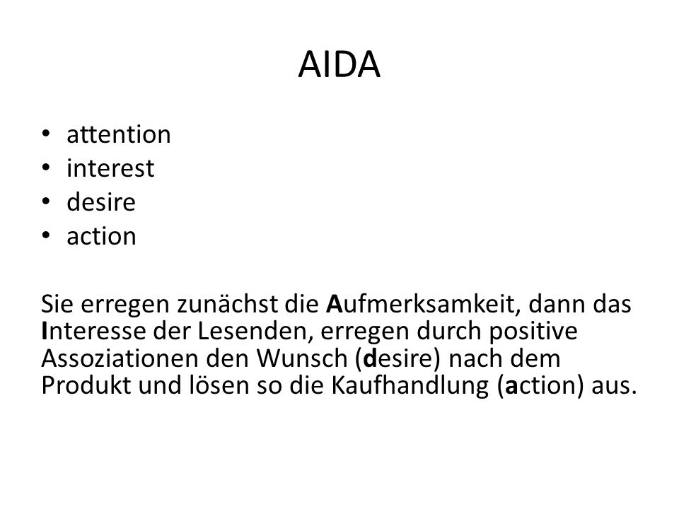 AIDA attention interest desire action