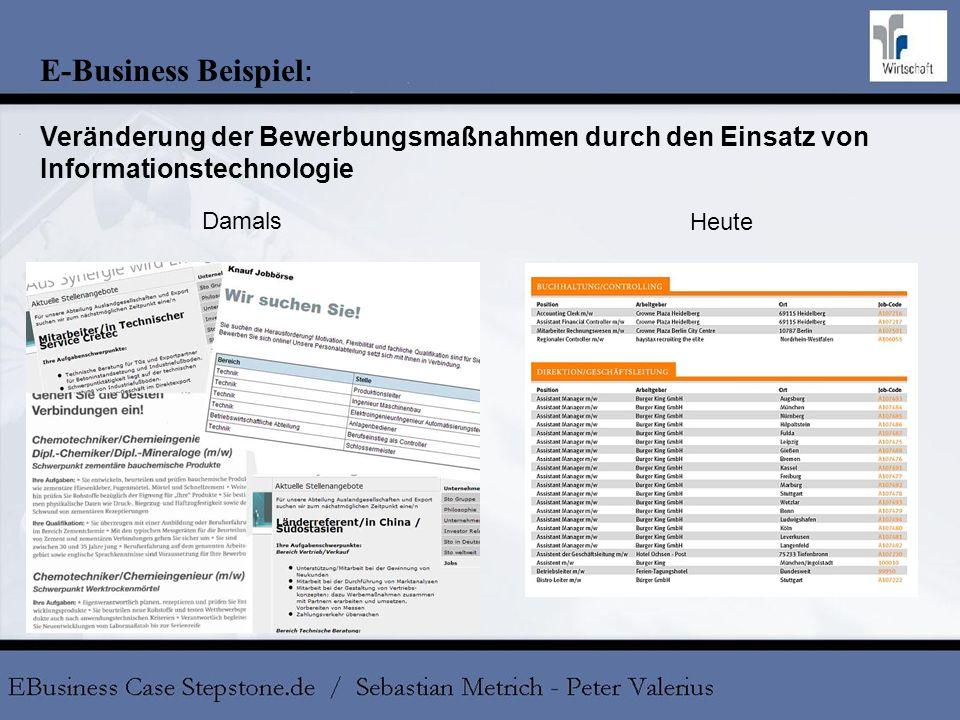E-Business Beispiel: Veränderung der Bewerbungsmaßnahmen durch den Einsatz von Informationstechnologie.