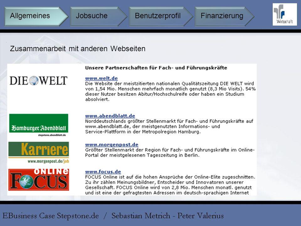 Allgemeines Jobsuche Benutzerprofil Finanzierung Zusammenarbeit mit anderen Webseiten