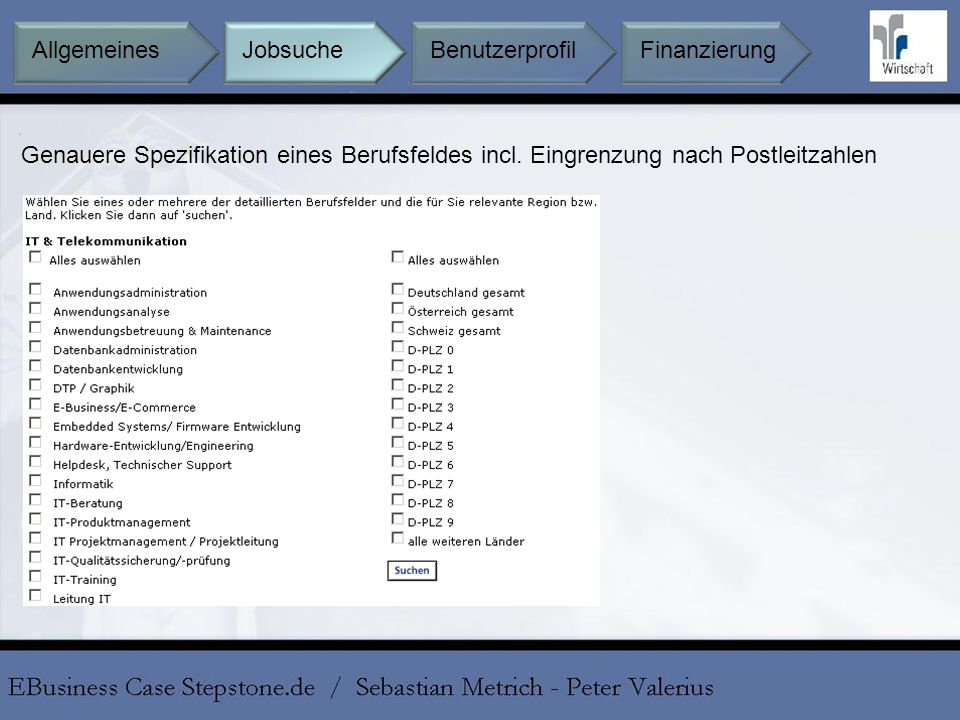 Allgemeines Jobsuche Benutzerprofil Finanzierung