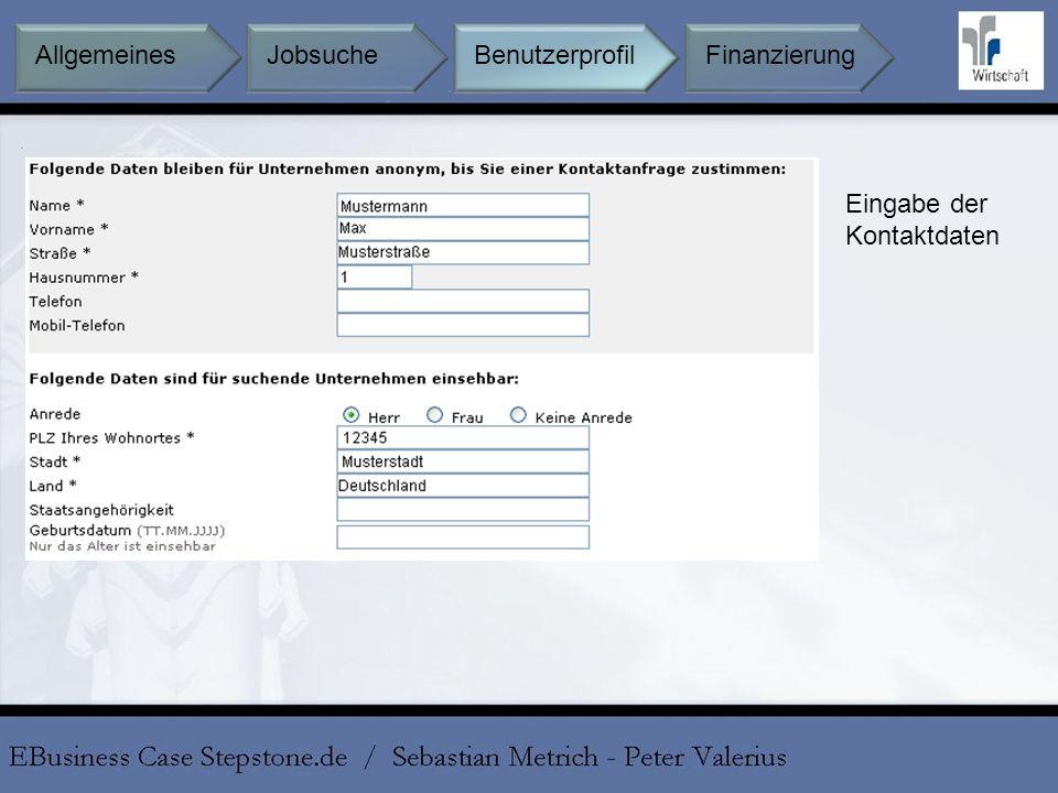 Eingabe der Kontaktdaten