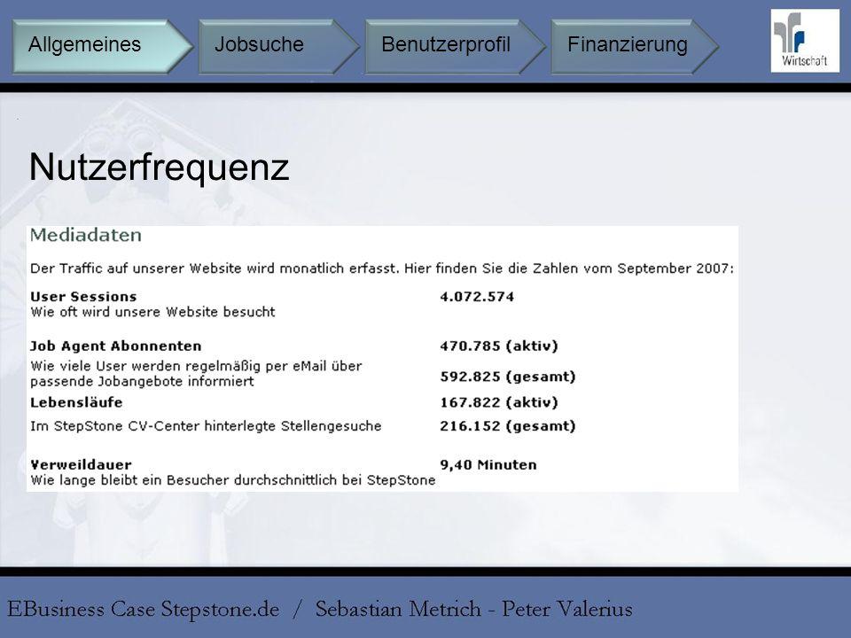 Nutzerfrequenz Allgemeines Jobsuche Benutzerprofil Finanzierung