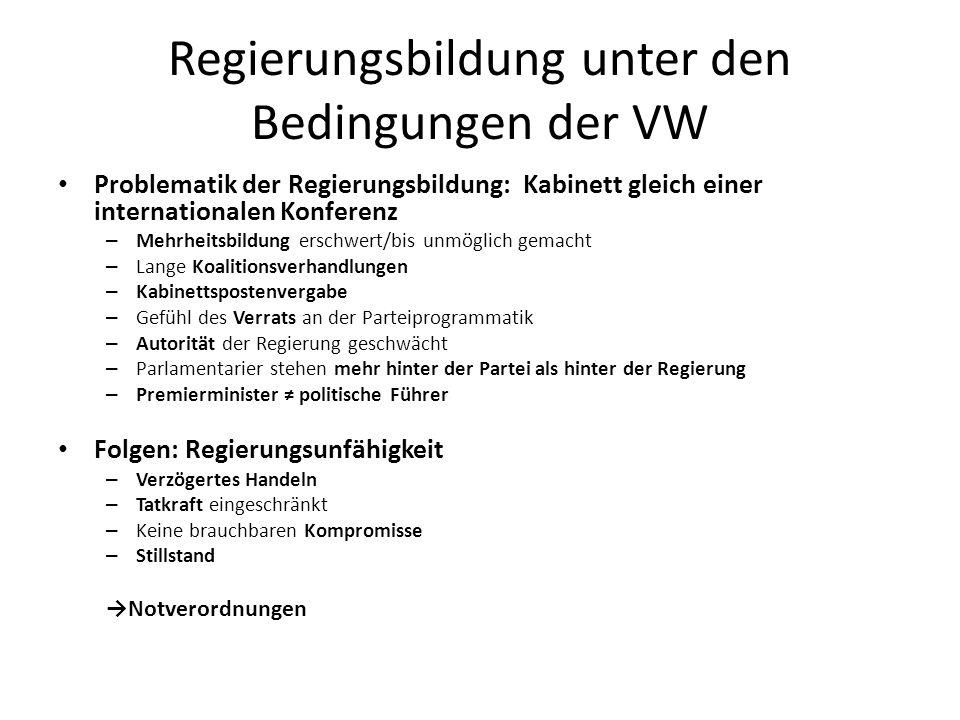 Regierungsbildung unter den Bedingungen der VW