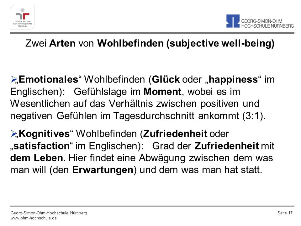 Zwei Arten von Wohlbefinden (subjective well-being)