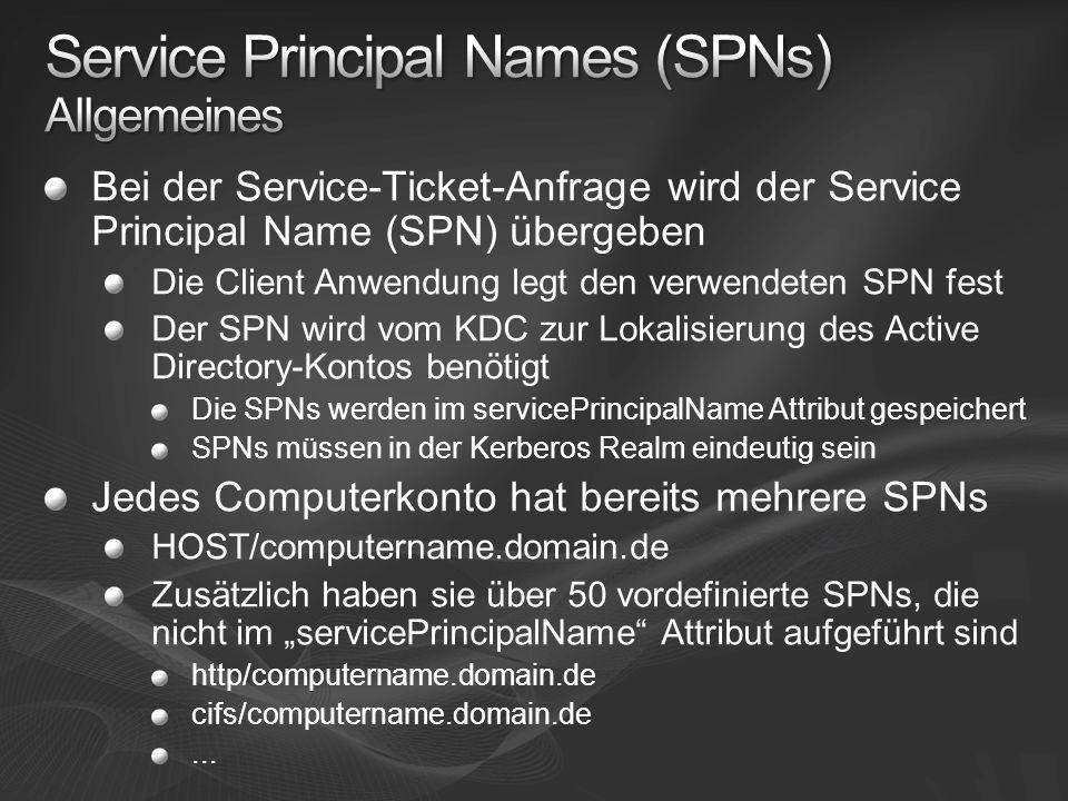 Service Principal Names (SPNs) Allgemeines
