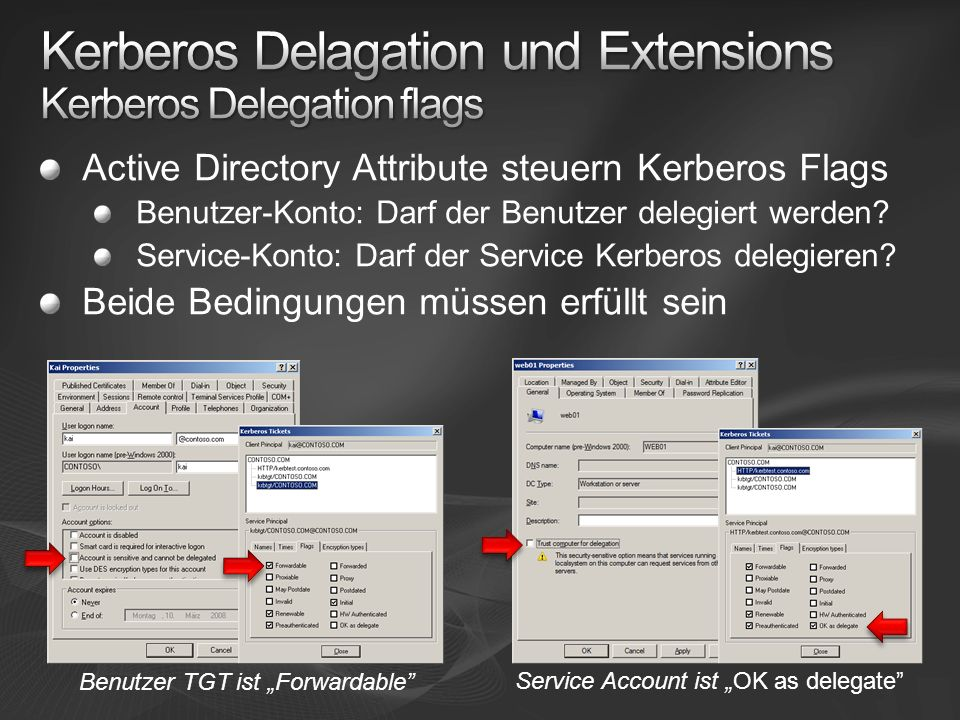 Kerberos Delagation und Extensions Kerberos Delegation flags