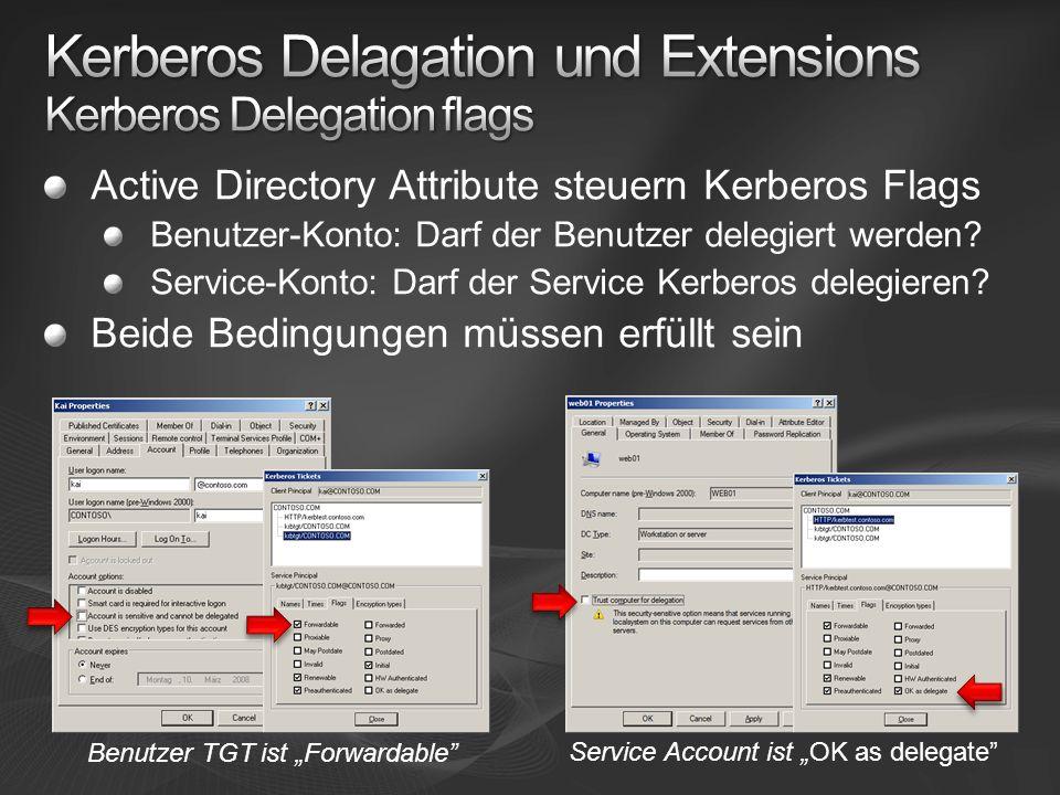 Kerberos Delagation und Extensions Kerberos Delegation flags