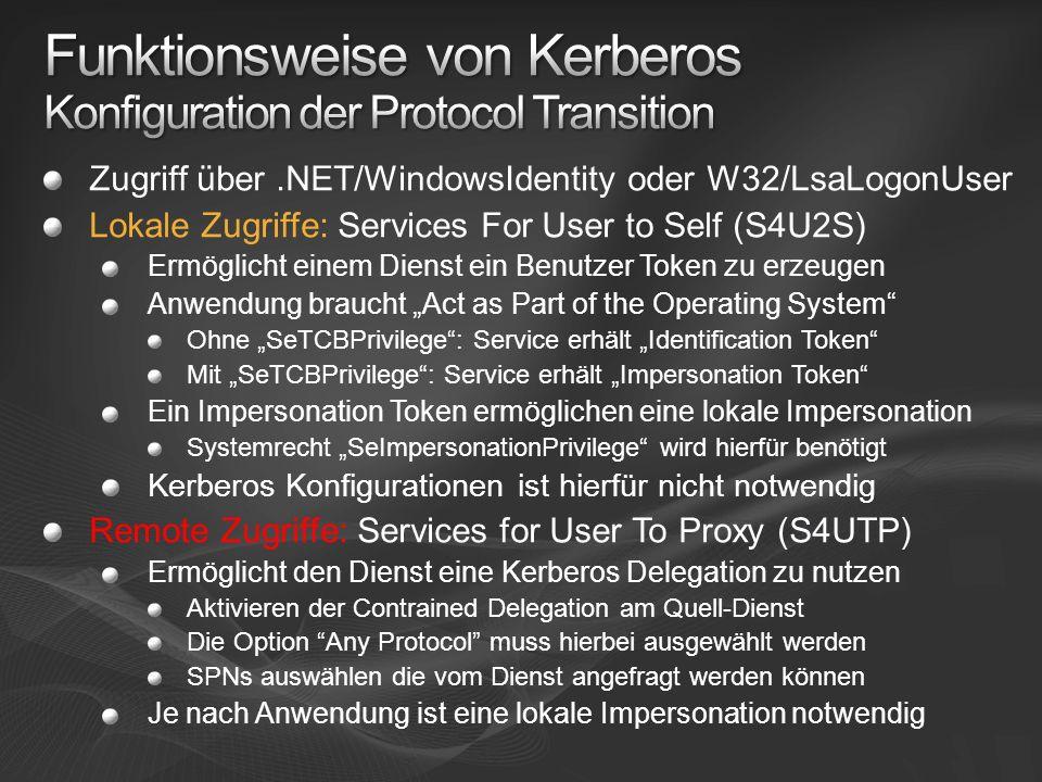Funktionsweise von Kerberos Konfiguration der Protocol Transition