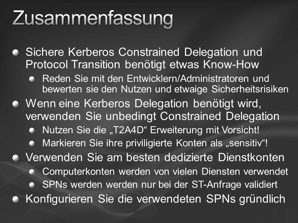 Zusammenfassung Sichere Kerberos Constrained Delegation und Protocol Transition benötigt etwas Know-How.