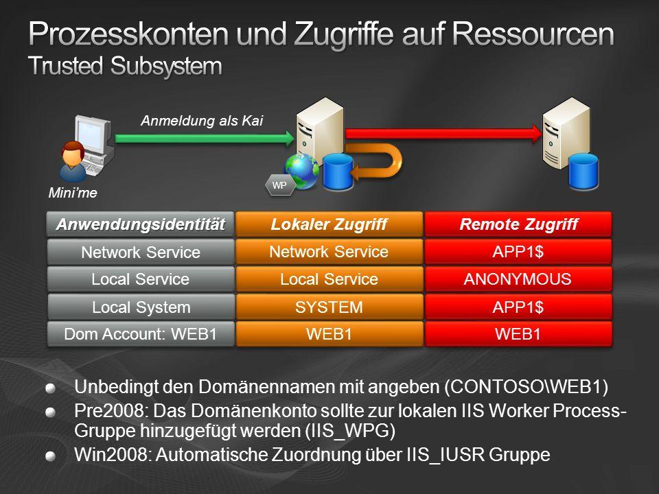 Prozesskonten und Zugriffe auf Ressourcen Trusted Subsystem