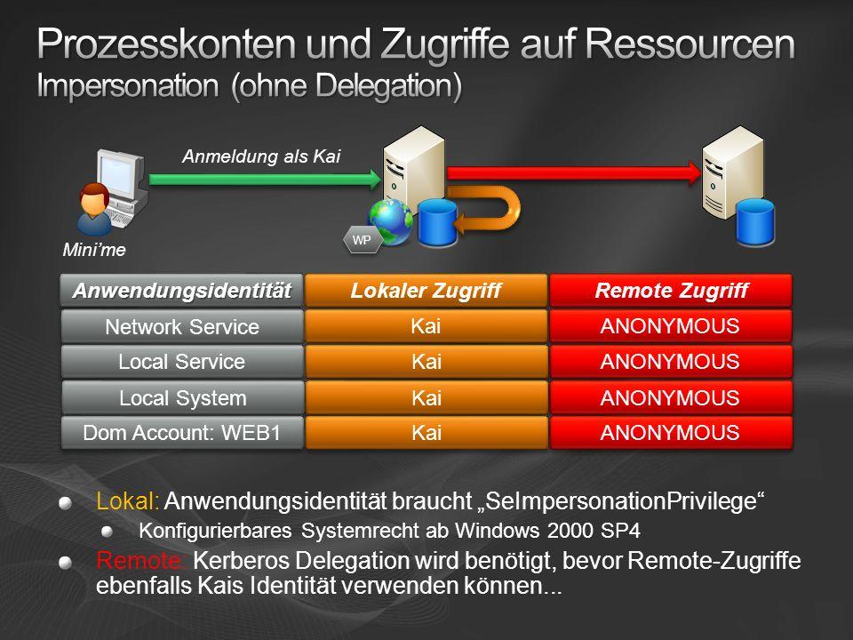 Prozesskonten und Zugriffe auf Ressourcen Impersonation (ohne Delegation)