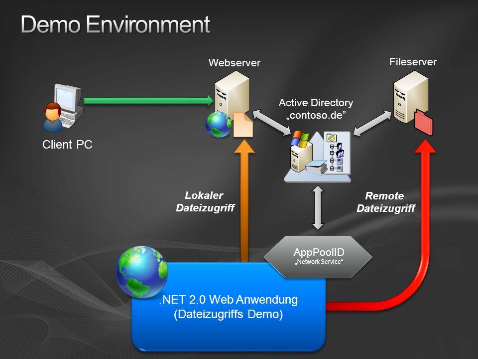 Demo Environment Client PC .NET 2.0 Web Anwendung (Dateizugriffs Demo)