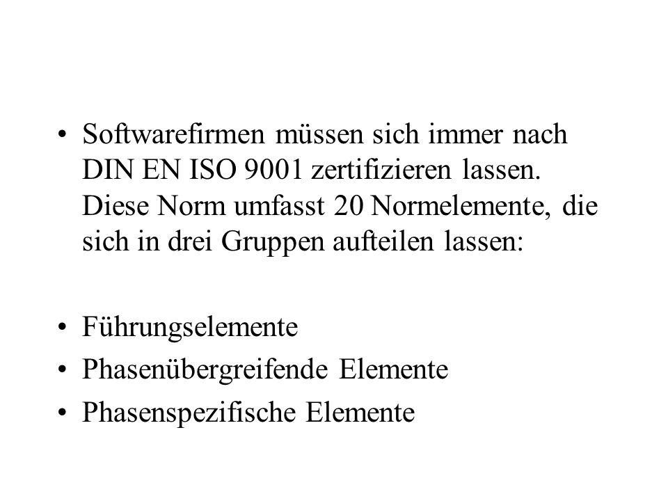 Softwarefirmen müssen sich immer nach DIN EN ISO 9001 zertifizieren lassen. Diese Norm umfasst 20 Normelemente, die sich in drei Gruppen aufteilen lassen: